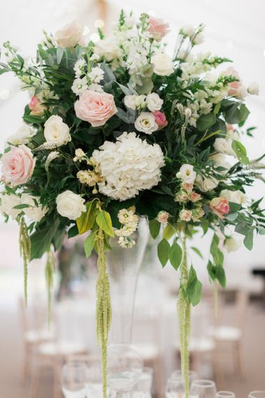 Fresh White, Pink and Foliage Flower Display