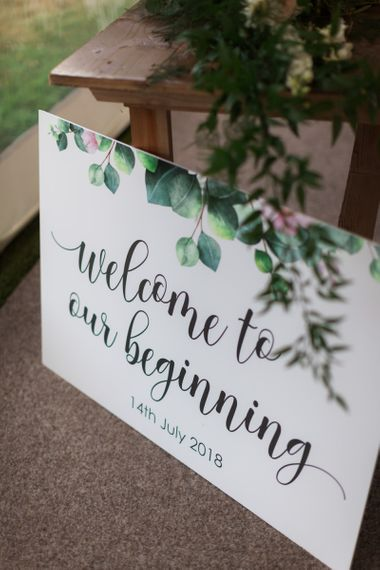 Pink and Green Floral Motif Wedding Sign