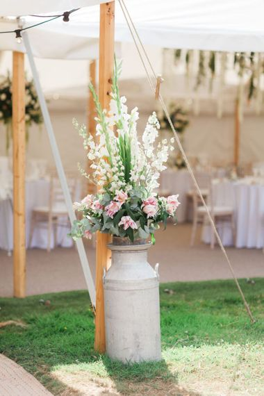 Pink and white Flower Filled Milk Churn