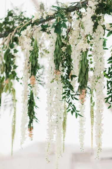 Hanging White and Green Wedding Flowers