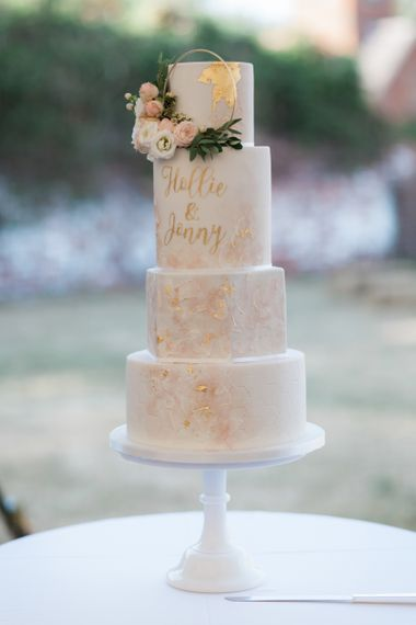 Little Button Bakery Wedding Cake with Gold Detail and Hoop Decor
