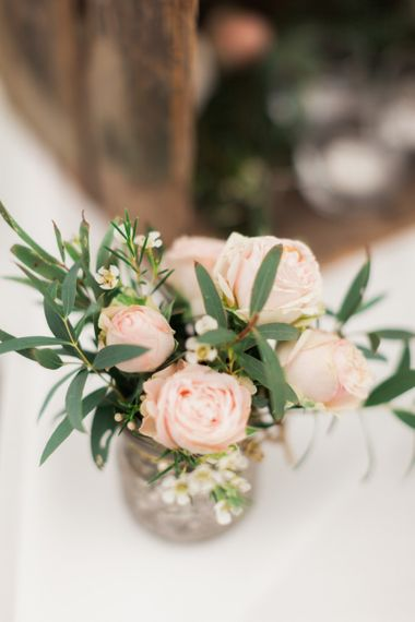 Small Pink Spray Roses in Vase
