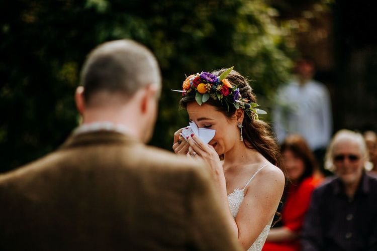 Emotional Bride at the Outdoor Wedding Ceremony