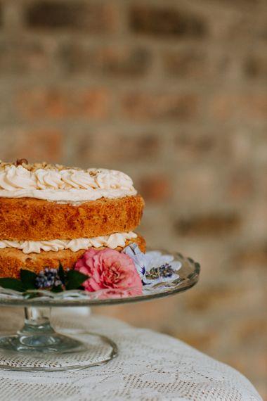 Homemade Wedding Cake on Glass Cake Stand