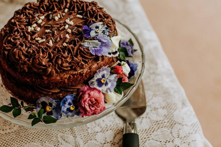 Homemade Chocolate Wedding Cake Decorated with Flowers
