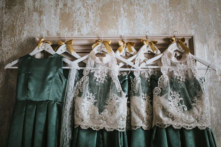 Green & White Bridesmaid Separates | Green, White & Gold Wedding at Buckland Tout Saints, Devon |  Darina Stoda Photography