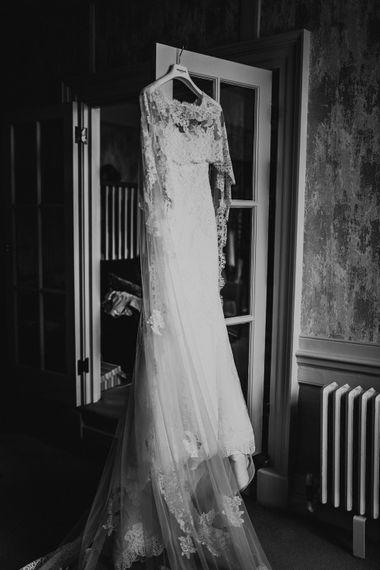 Pronovias Oringo Lace Bridal Gown & Cape | Green, White & Gold Wedding at Buckland Tout Saints, Devon |  Darina Stoda Photography