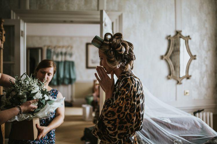 Wedding Morning Bridal Preparations | Green, White & Gold Wedding at Buckland Tout Saints, Devon |  Darina Stoda Photography
