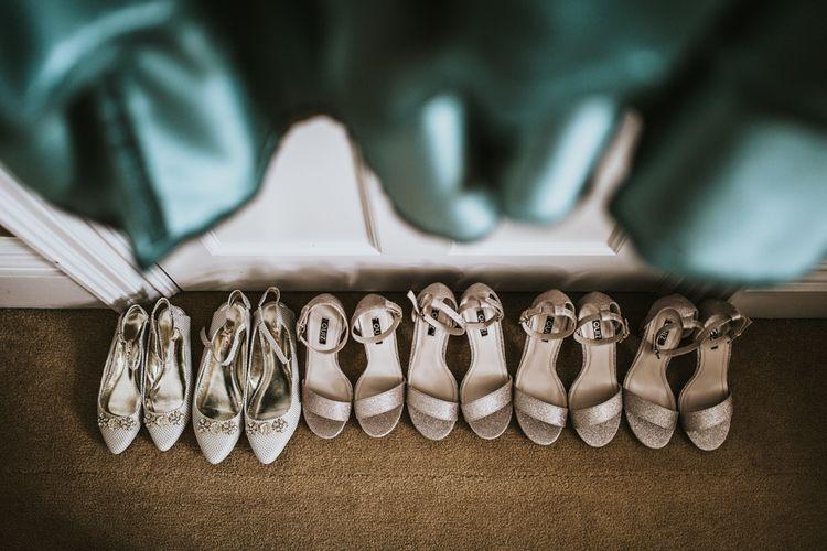Bridal Party Shoes | Green, White & Gold Wedding at Buckland Tout Saints, Devon |  Darina Stoda Photography