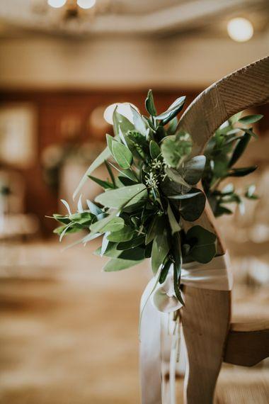 Green & White Aisle Wedding Flowers | Green, White & Gold Wedding at Buckland Tout Saints, Devon |  Darina Stoda Photography