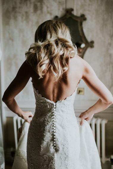 Bridal Morning Preparations | Pronovias Oringo Lace Bridal Gown | Green, White & Gold Wedding at Buckland Tout Saints, Devon |  Darina Stoda Photography