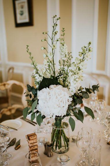 Green & White Wedding Flower Centrepieces | Green, White & Gold Wedding at Buckland Tout Saints, Devon |  Darina Stoda Photography