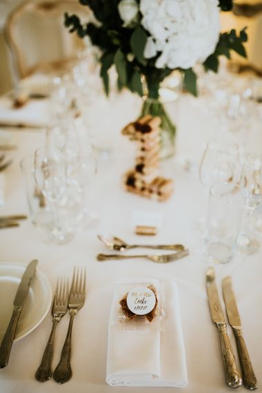 Place Setting & Wedding Favour | Green, White & Gold Wedding at Buckland Tout Saints, Devon |  Darina Stoda Photography