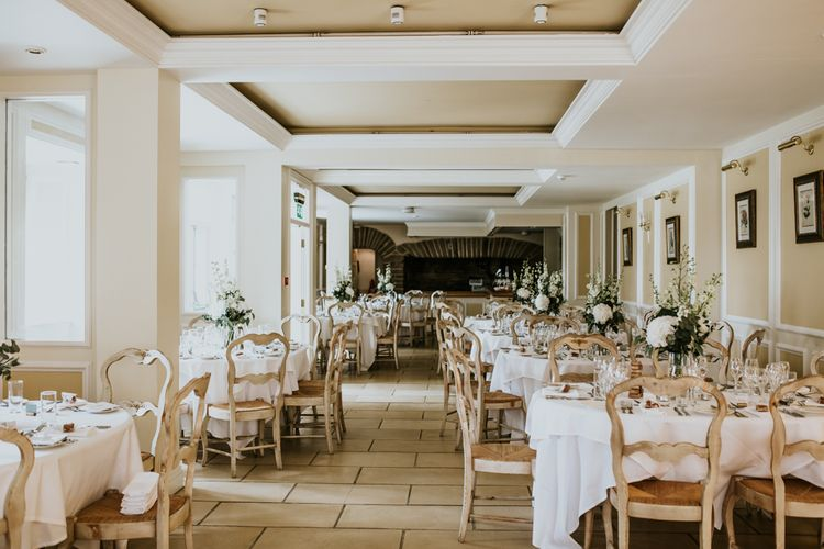 Wedding Reception | Green, White & Gold Wedding at Buckland Tout Saints, Devon |  Darina Stoda Photography