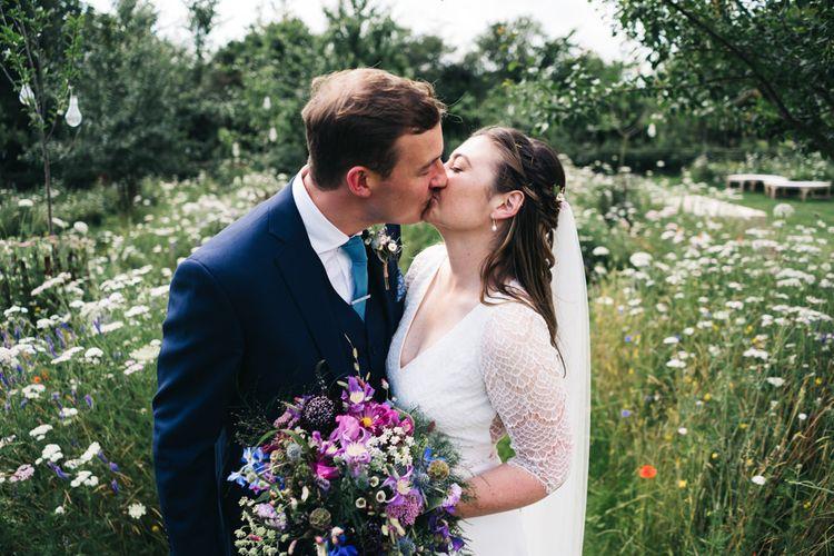 Bright wildflower bouquet for bride