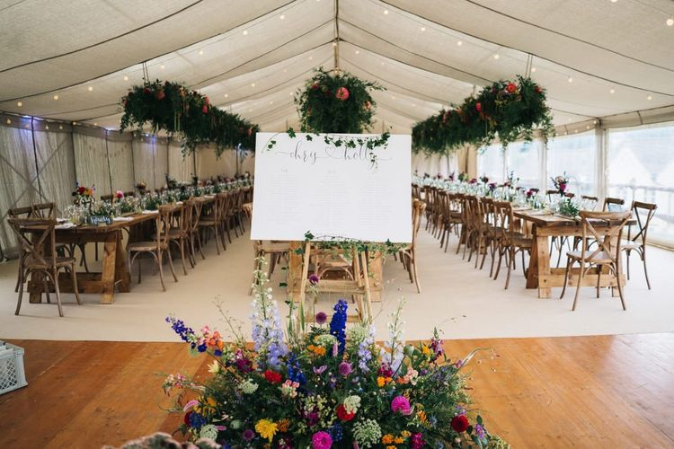 Wedding seating plan surrounded by flower displays