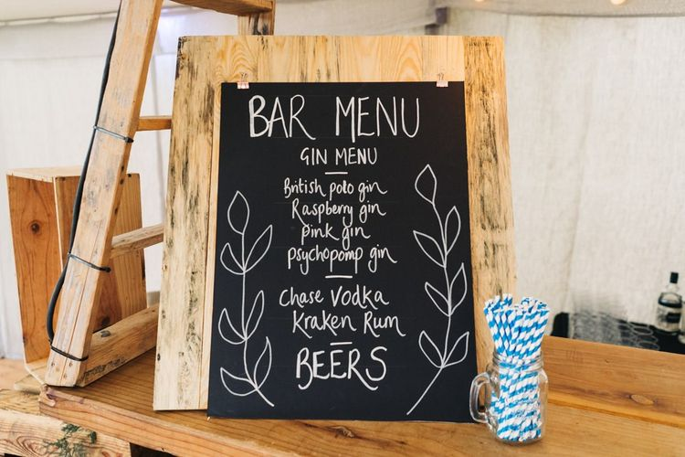 Chalkboard wedding signs and bar menu
