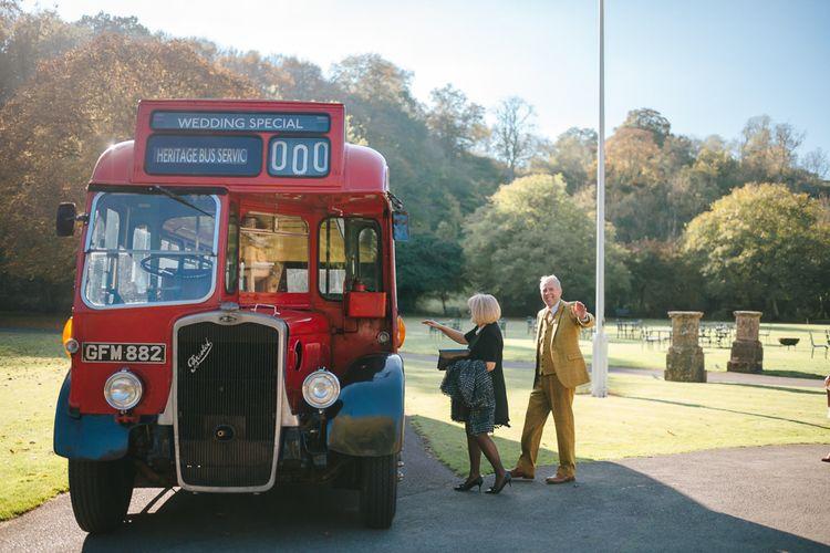 Vintage Wedding Bus Transporting Wedding Guests