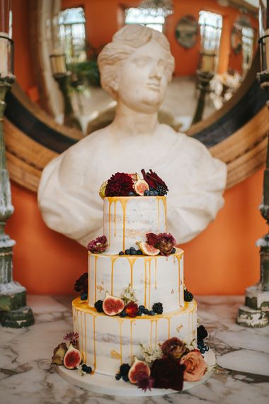 Three Tier Semi Naked Wedding Cake with Drip Icing and Fig Decor