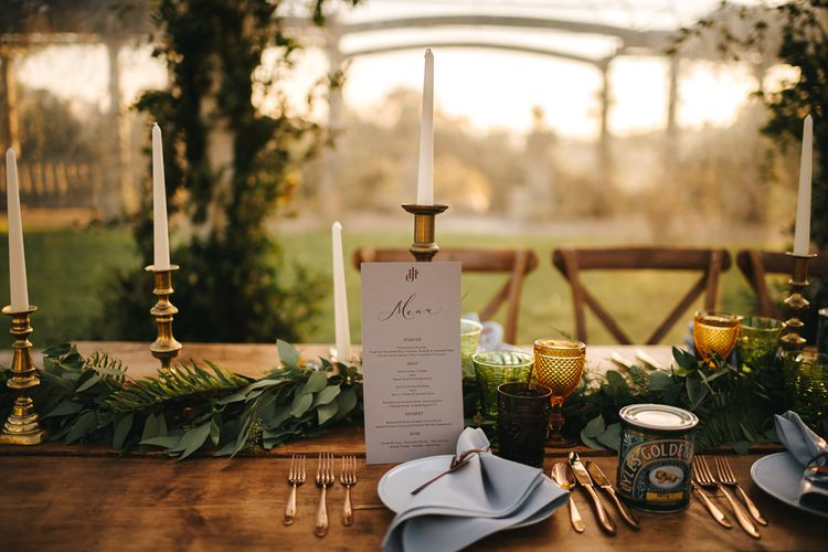 Green and Gold Wedding Reception Decor and Complementary Stationery Menu Card