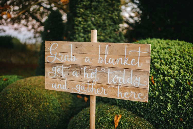 Wooden Wedding Sign with White Calligraphy Writing