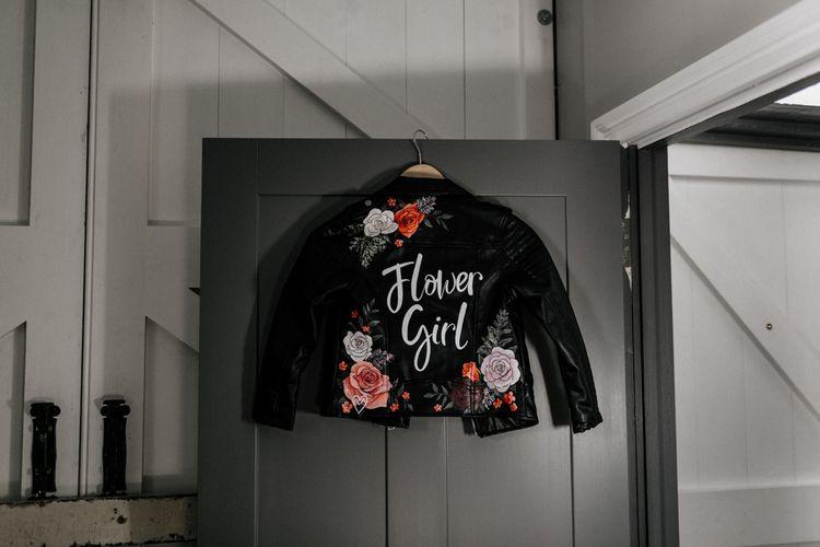 Personalised flower girl leather jacket