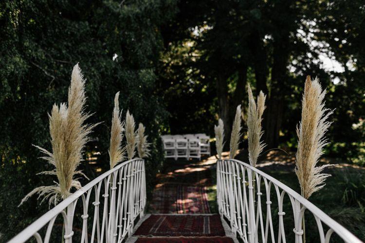 Pampas grass decorated bridge at Preston Court