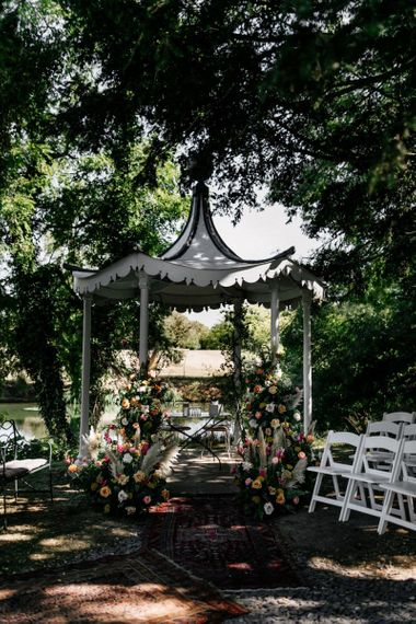 Outdoor wedding gazebo at Preston Court