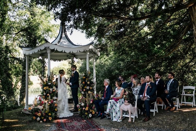 Intimate wedding ceremony at Preston Court wedding venue