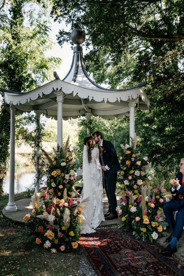 Preston Court gardens wedding ceremony
