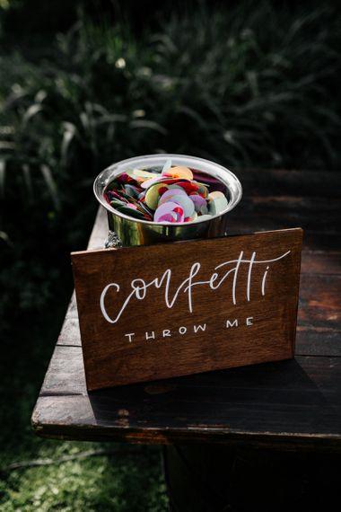 Confetti pot with colourful confetti