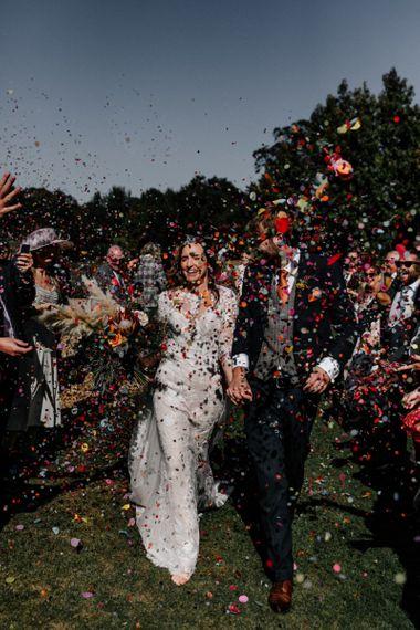 Confetti moment at Preston Court wedding