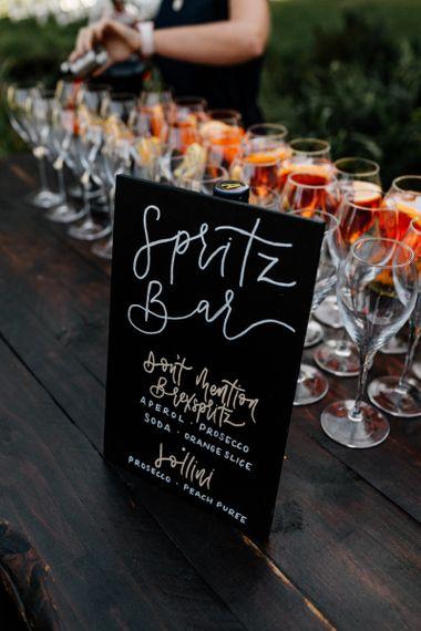 Spritz bar chalkboard wedding sign