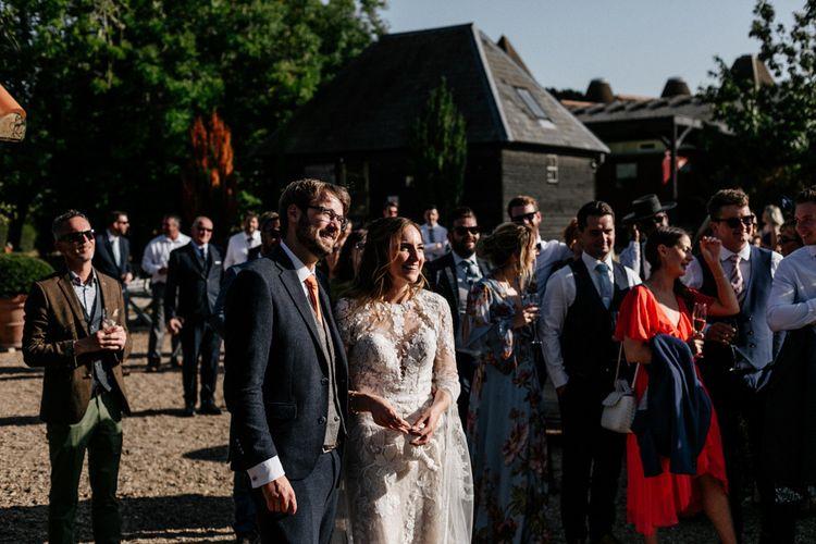 Outdoor wedding speeches at Preston Court