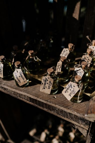 Limoncello wedding favours with luggage tags