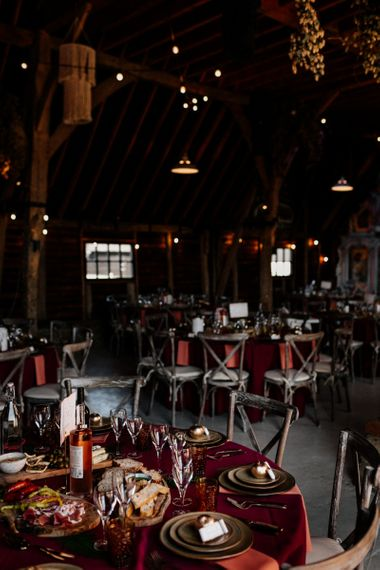 Red and gold wedding reception decor