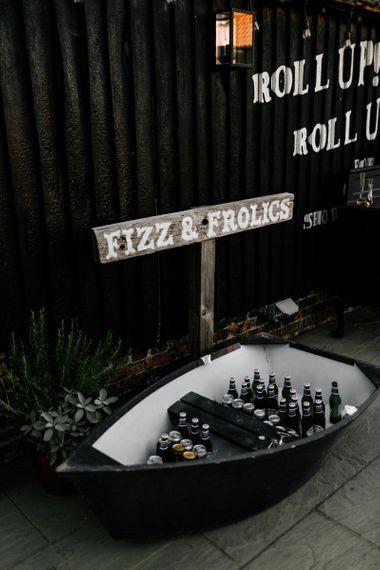 Fizz & frolics boat filled with bottled beer