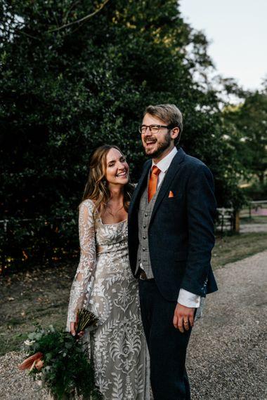 Bride and groom portrait at Preston Court wedding