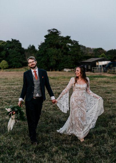 Dusk bride and groom wedding photography