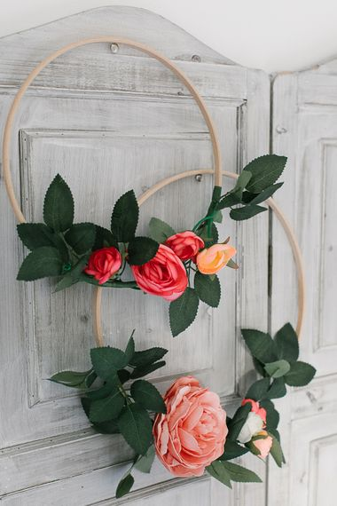 Peach and Pink Wedding Hoop Bouquets