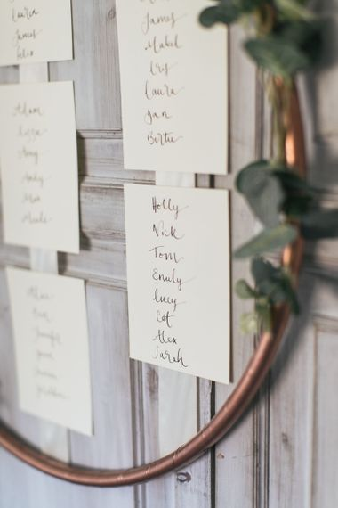 How to Make Wedding Decor Using Hula Hoops | Copper Colour Scheme Wedding | Copper Table Plan with Eucalyptus and White Ribbons