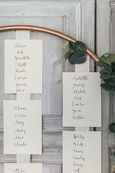 DIY Hula Hoop Table Plan for a Copper, Grey and Green Wedding | Calligraphy Table Plan Cards | Modern Industrial Wedding