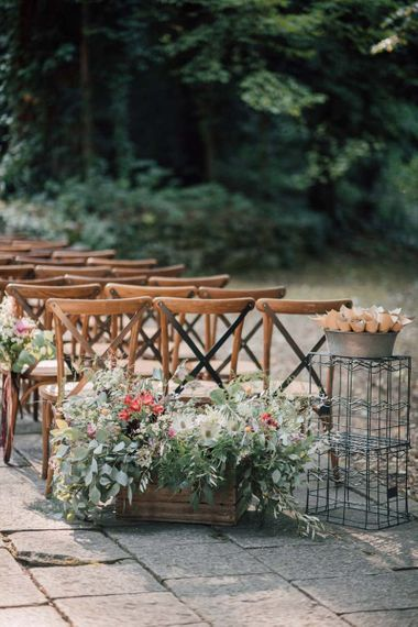 Wildflower wedding decor at Italian wedding