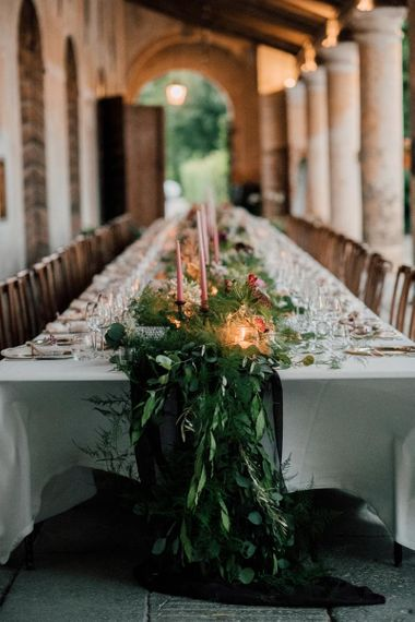 Foliage table runner for wedding breakfast table decor