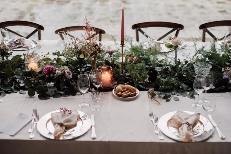 Foliage table runner at Italian wedding