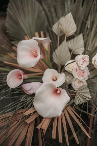 Dried Palm Leaves and Lillies Wedding Flowers