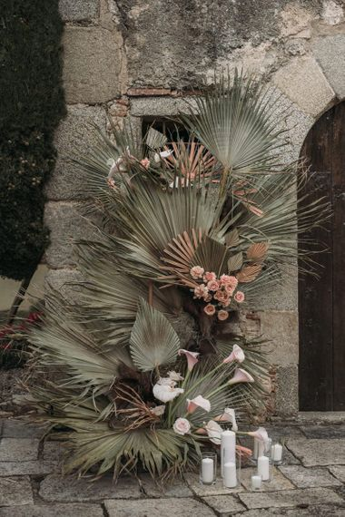Dried Palm Leaves and Pink Aisle Wedding Flower Decor