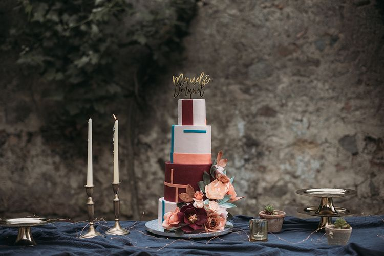 Art Deco Iced  Wedding Cake with Flowers and Cake Topper