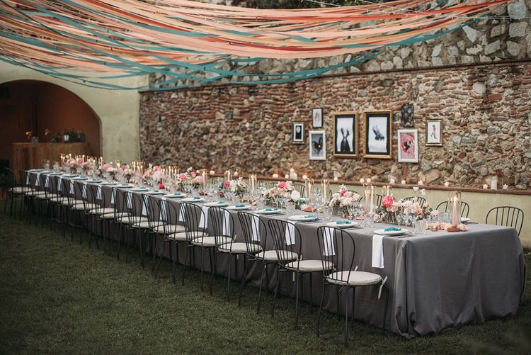 Wedding Reception Table with Candle Light and Ribbon Canopy