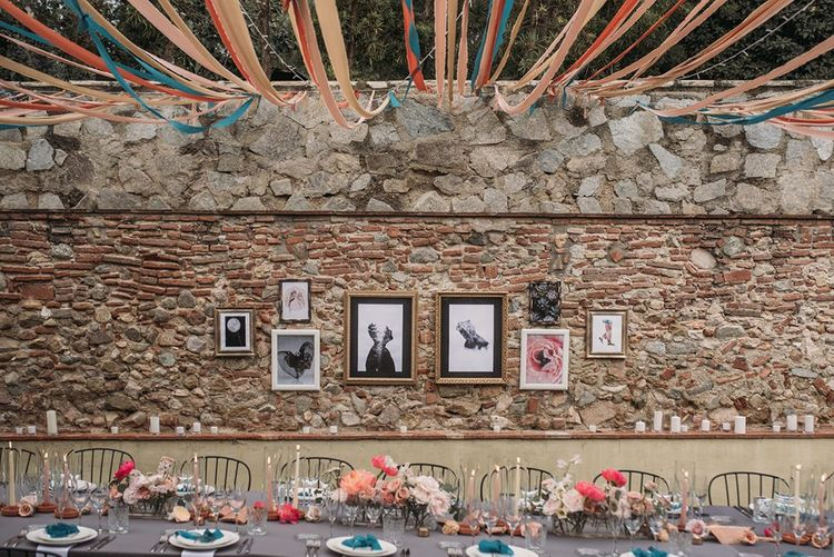 Wedding Reception Decor with Gallery Wall Backdrop and Ribbon Canopy